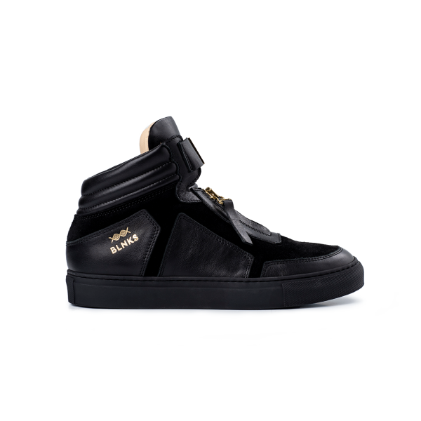 8015 High Top Zipper Sneaker - Black on Black