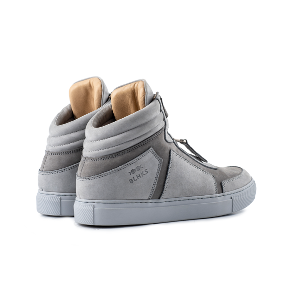 8015 High Top Zipper Sneaker - Grey Nubuck